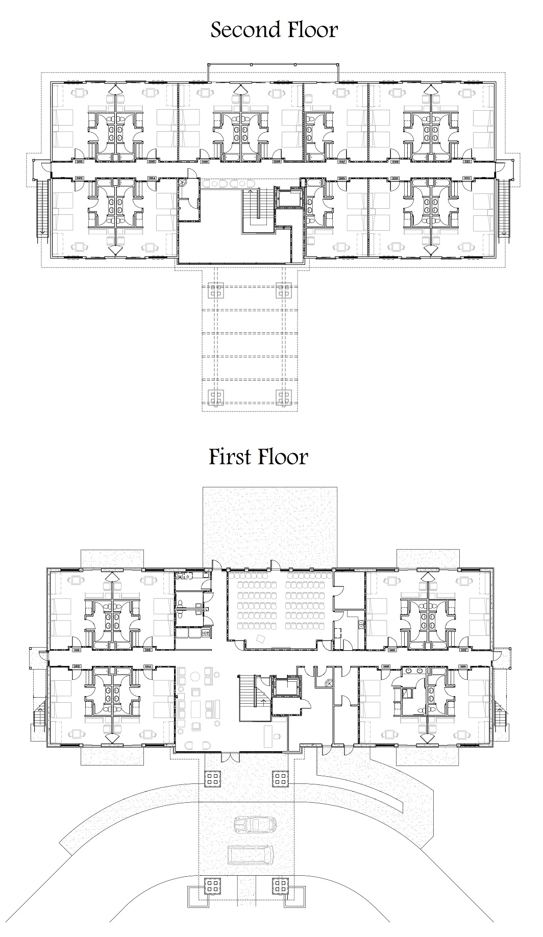 Housing christian retreat and conference center north for Lodge floor plans